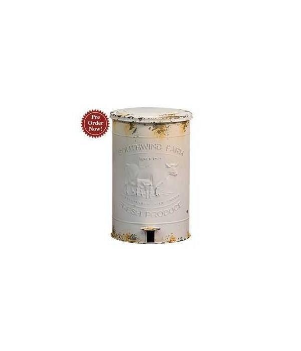 Southwind Farm Metal Trash Bin.. 10.75 w x 16 h x 15.75 D in.