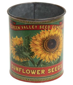 Green Valley Sunflower Seeds Metal Can .. 4  h x 3.25  w x 3.25  D in.
