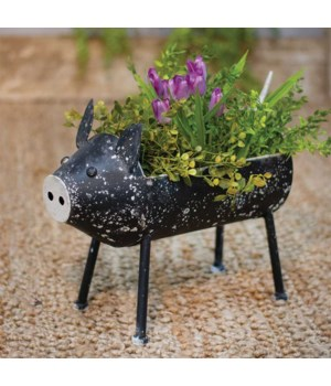 Distressed Black Pig Plant Holder .. 12.25  h x 13.75  w x 5.5  D in.