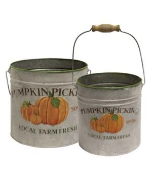 2/Set, Pumpkin Picking Metal Buckets Lg 8 h x 8.5 w x 8.5 d, Sm 7.5 h x 7.5w x 7.5 d in.