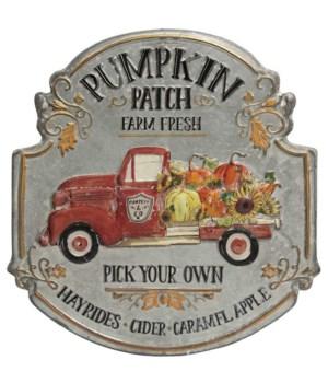 Pumpkin Patch Truck Metal Sign 16  h x 14.75  w x .5  dp. in.