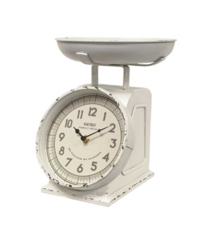 Rustic White Decorative Scale with Clock .. 8.25 x .25 x 10.25 in.