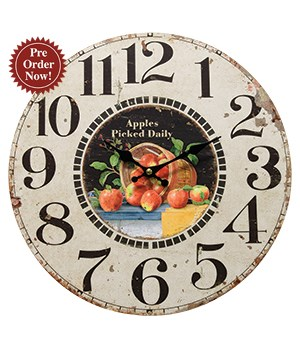 Apples Picked Daily Clock 13 round in.