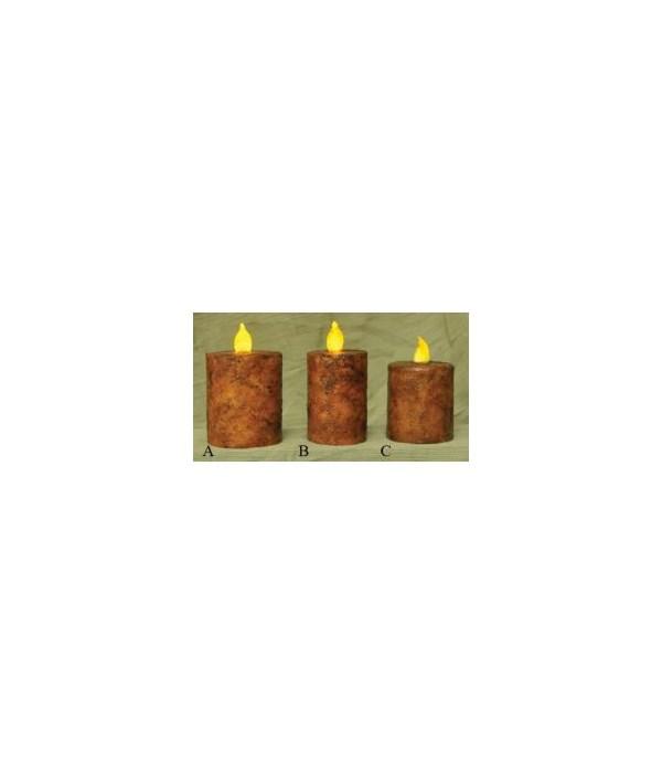 Burnt Mustard BOC Pillar - 2.5  x 3  Timer 2.5  x 3  in.
