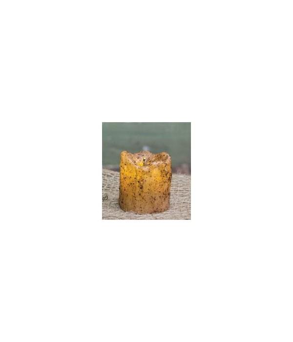 Burnt Ivory Mini Dripped Timer Pillar 1 3/4 x 1 1/2  in.