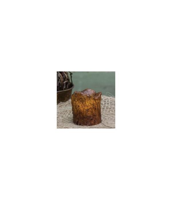 Burnt Mustard Mini Dripped Timer Pillar 1 3/4 x 1 1/2  in.
