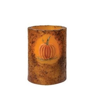 Burnt Mustard BOC Timer Pillar w/Pumpkin  3 x 4 in.
