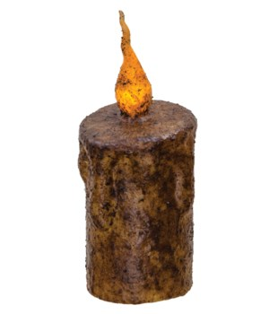 Burnt Mustard Twisty Flame Pillar, 2.5  x 5  5 h x 2.5  dia in.