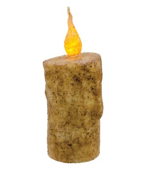 Burnt Ivory Twisty Flame Pillar, 2.5  x 6  in.
