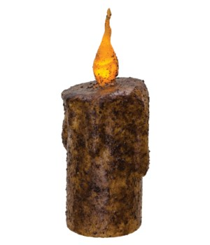 Burnt Mustard Twisty Flame Pillar, 2.5  x 6  in.