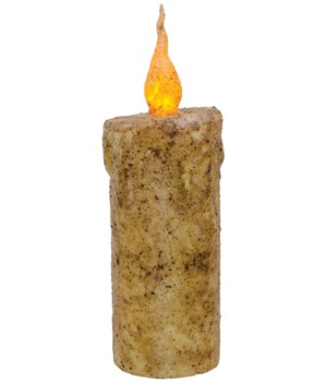 Burnt Ivory Twisty Flame Pillar, 2.5  x 6.5  in.