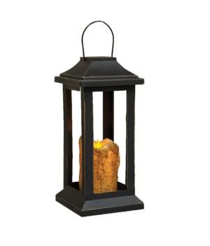 Burnt Ivory Pillar Lantern, 10 inch 10  x 4.5  x 4.5  in.