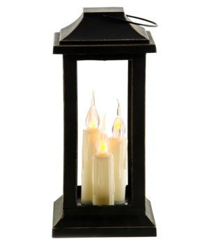 Ivory Three Taper Lantern, 10 inch 10  x 4.5  x 4.5  in.