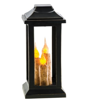 Burnt Ivory Three Taper Lantern, 10 inch 10  x 4.5  x 4.5  in.