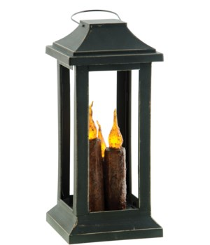 Burnt Mustard Three Taper Lantern, 10 inch 10  x 4.5  x 4.5  in.