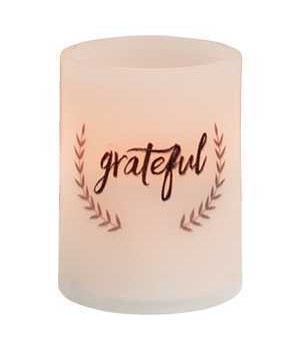 Grateful Pillar Candle, White 3  x 4  in.
