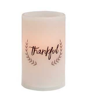 Thankful Pillar Candle, White 3 x 5 in.