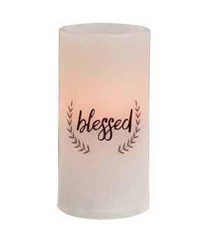 Blessed Pillar Candle, White 3 x 6 in.