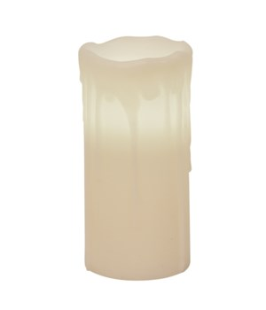 White Drip Pillar Candle, 3 x 7 in.