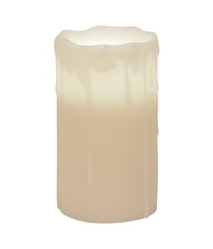 White Drip Pillar Candle, 3 x 6.. in.