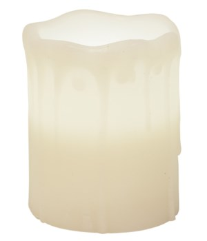 White Drip Pillar Candle, 3 x 4 in.