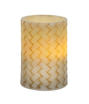 Basketweave Pillar Candle, 4 inch  3 x 4 in.