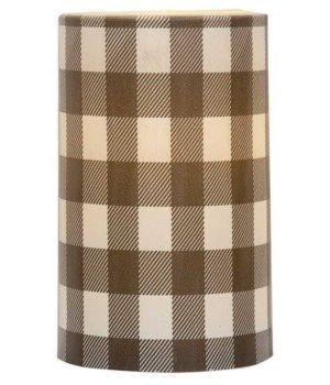 Gray Large Buffalo Check Timer Pillar 3 x 5 in.