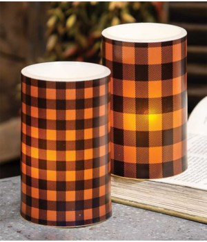 Orange Small Buffalo Check Timer Pillar 3 x 5 in.