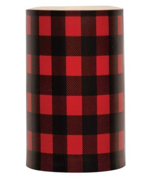 Red Large Buffalo Check Timer Pillar 3 x 5 in.
