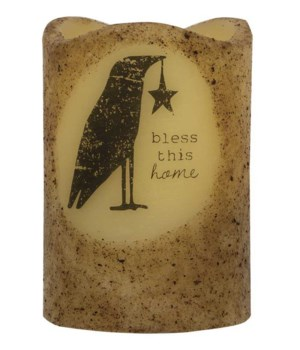 Bless This Home Crow Timer Pillar 3 x 4.5 in.