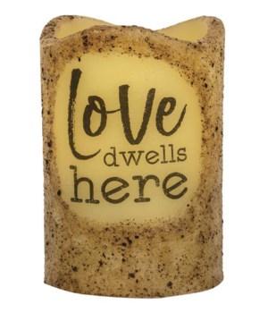 Love Dwells Here Timer Pillar 3 x 4.5 in.