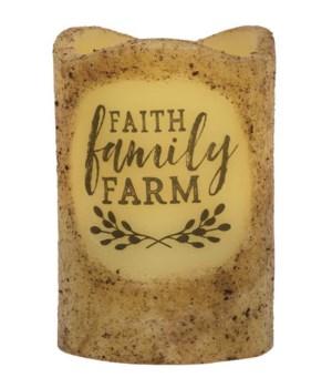 Faith, Family, Farm Timer Pillar 3 x 4.5 in.