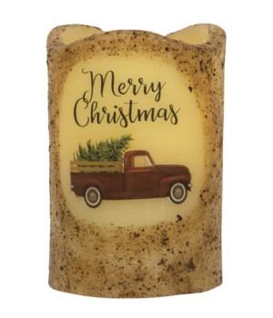 Merry Christmas Truck Timer Pillar 3 x 4.5 in.
