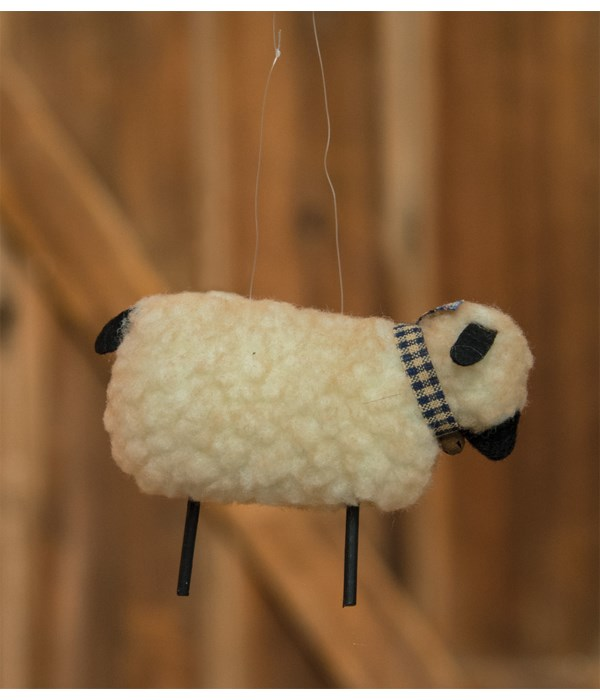 Wooly Sheep Ornament..pull one bag of 6 3.5 x 1.75 x 2.5 in.