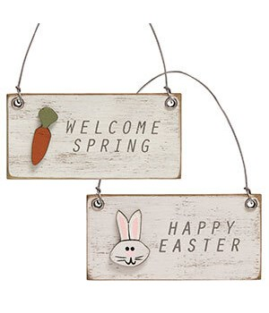 Welcome Spring Charm Ornament, 2 Asstd. 3 x.25 x 1.5 in.