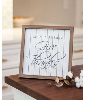 Give Thanks Framed Sign - 10  H x 10  W x 3/4  dp. in.