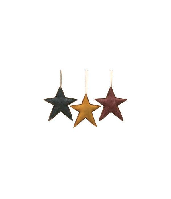 3/set Fabric Star Ornaments - 3  x 3-3/4  in.