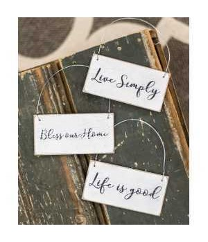 Live Simply Ornament, 3-asst. 3.5 x 1.75 in.