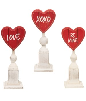 Be Mine Heart Pedestal, 3 asst 2.75 in.
