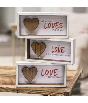 Slat Wood Heart Shadow Box, 3 asst. .. 8.25 x 4 x 1.5 in.