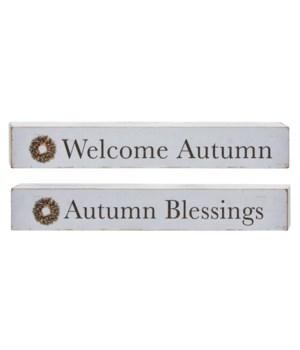 Autumn Blessings Wood Block, 2 asstd. 1.50h x 10w x .75l in.