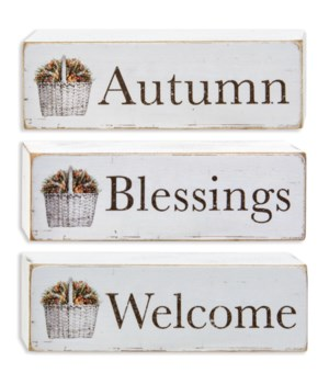 Welcome Autumn Blessings Block, 3 asstd. 1.24 h x 4w x .75l in.