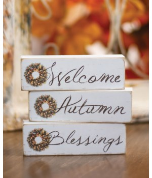 Blessings, Autumn, Welcome Block, 3 asstd. 1.24 h x 4w x .75l in.