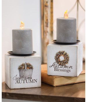 Autumn Blessings Candle Block, 2 asstd. 4h x 3.75w x 3.75 l in.