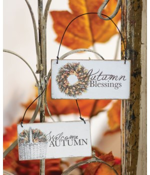 Autumn Blessings Ornament, 2 asstd. 1.75h x 3.5w x .8l in.