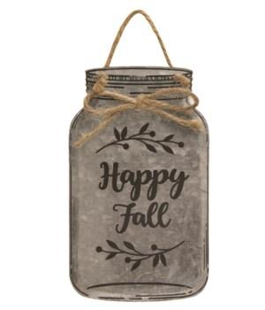 Happy Fall Metal Mason Jar Ornament 3.5  x .0125  x 6  in.