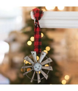 Glittered Windmill Ornament w/ Buffalo Check Hanger 4 x 4  in.