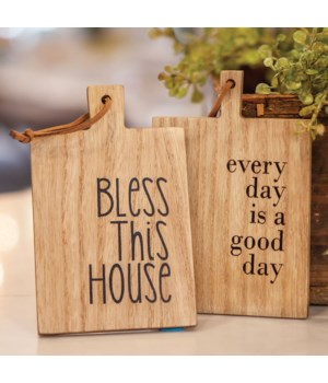 Bless This House Mini Cutting Board Ornament, 2 asstd.