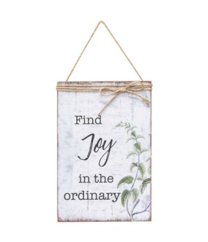 Find Joy In The Ordinary Jute Wrapped Sign 11.5  h x 7.75  w x .5  dp. in.