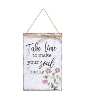 Make Your Soul Happy Jute Wrapped Sign 11.5  h x 7.75  w x .5  dp. in.